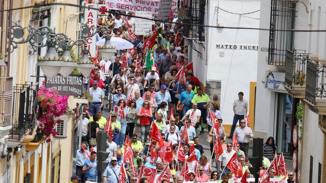Manifestacin durante la ltima huelga de trabajadores municipales en 2015