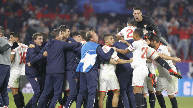 Celebración del gol del empate.