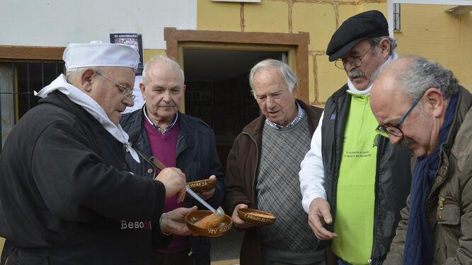 Serrano Polonio, Moragas, El comisario y Patato, ayer en la Salmorejada.
