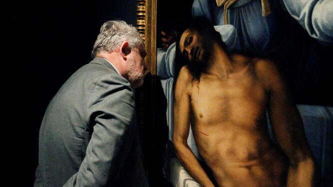 Detalle de la 'Piedad' pintada sobre pizarra por Sebastiano del Piombo.