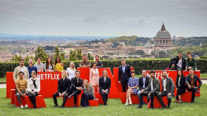 Actores y creadores de los nuevos proyectos europeos de la plataforma, en la presentación celebrada en Roma.