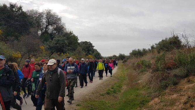 Algunos de los asistentes a la primera ruta del Camino Mozárabe entre Lucena y Cabra