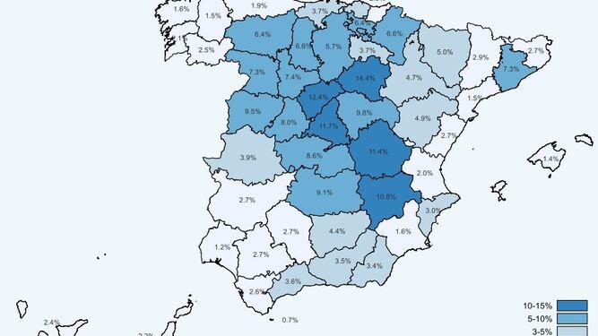 Mapa de la seroprevalencia en España.